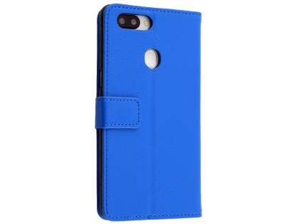 Synthetic Leather Wallet Case with Stand for OPPO R15 - Blue Leather Wallet Case