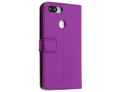 Synthetic Leather Wallet Case with Stand for OPPO R15 - Purple Leather Wallet Case
