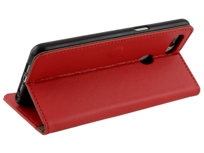 Synthetic Leather Wallet Case with Stand for OPPO R15 Pro - Red