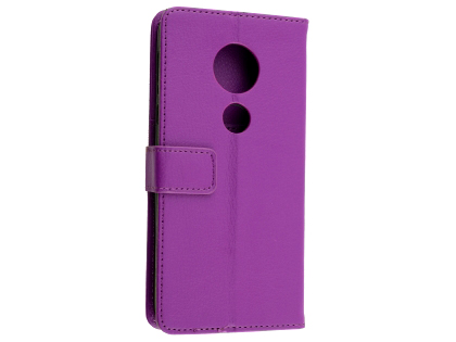 Synthetic Leather Wallet Case with Stand for Motorola Moto G6 Play - Purple Leather Wallet Case