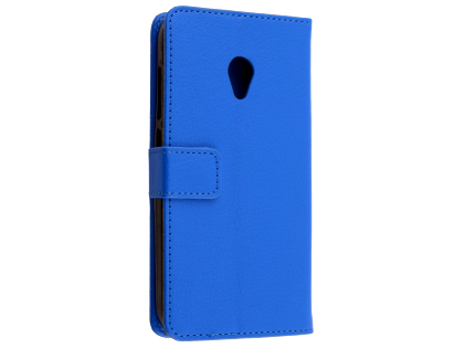 Synthetic Leather Wallet Case with Stand for Optus X Spirit - Blue Leather Wallet Case