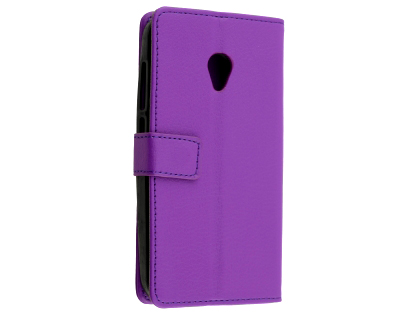 Synthetic Leather Wallet Case with Stand for Optus X Spirit - Purple Leather Wallet Case