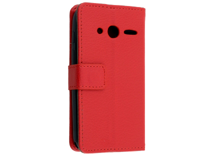 Synthetic Leather Wallet Case with Stand for Optus X Play - Red Leather Wallet Case