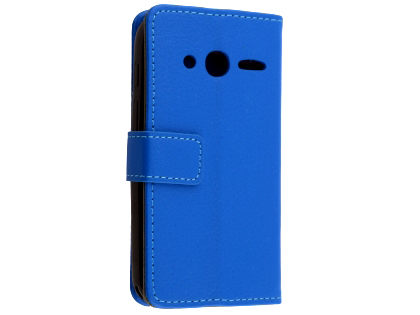 Synthetic Leather Wallet Case with Stand for Optus X Play - Blue Leather Wallet Case