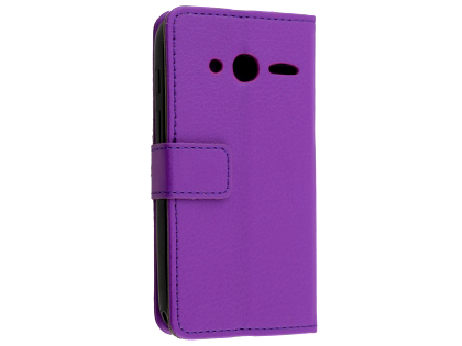 Synthetic Leather Wallet Case with Stand for Optus X Play - Purple Leather Wallet Case