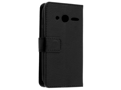 Synthetic Leather Wallet Case with Stand for Optus X Play - Black Leather Wallet Case
