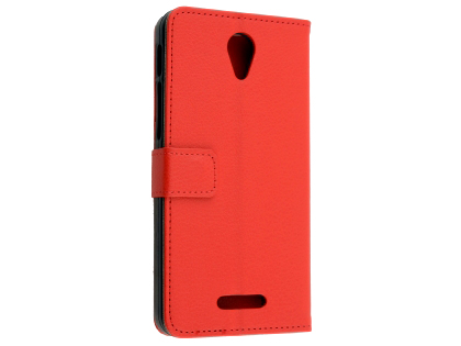 Synthetic Leather Wallet Case with Stand for Optus X Smart - Red Leather Wallet Case