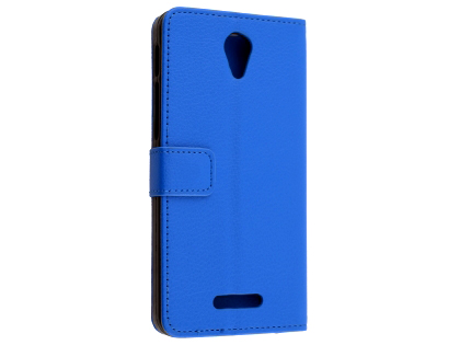 Synthetic Leather Wallet Case with Stand for Optus X Smart - Blue Leather Wallet Case