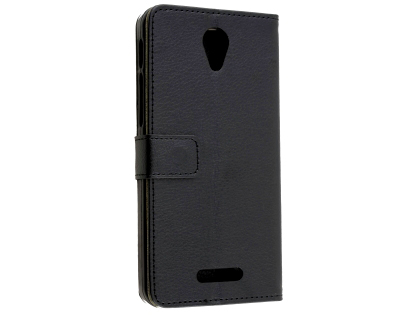 Synthetic Leather Wallet Case with Stand for Optus X Smart - Black Leather Wallet Case