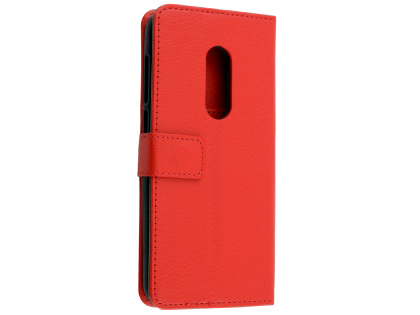 Synthetic Leather Wallet Case with Stand for Alcatel 1C - Red Leather Wallet Case