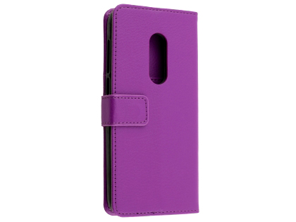 Synthetic Leather Wallet Case with Stand for Alcatel 1C - Purple Leather Wallet Case