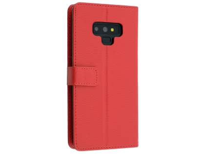 Synthetic Leather Wallet Case with Stand for Samsung Galaxy Note9 - Red Leather Wallet Case