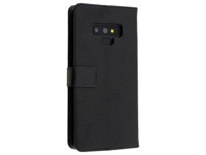 Synthetic Leather Wallet Case with Stand for Samsung Galaxy Note9 - Black Leather Wallet Case
