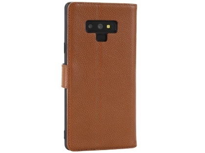 Premium Leather Wallet Case with Stand for Samsung Galaxy Note9 - Brown Leather Wallet Case