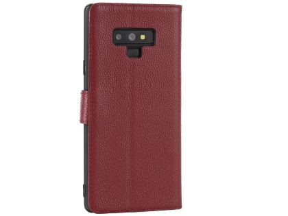 Premium Leather Wallet Case with Stand for Samsung Galaxy Note9 - Rosewood Leather Wallet Case