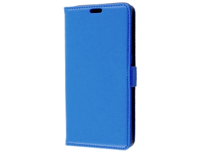 Synthetic Leather Wallet Case with Stand for Telstra Superior - Blue Leather Wallet Case