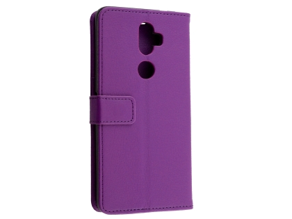 Synthetic Leather Wallet Case with Stand for Telstra Superior - Purple Leather Wallet Case