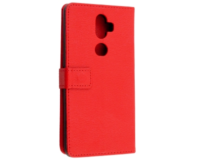 Synthetic Leather Wallet Case with Stand for Telstra Superior - Red Leather Wallet Case