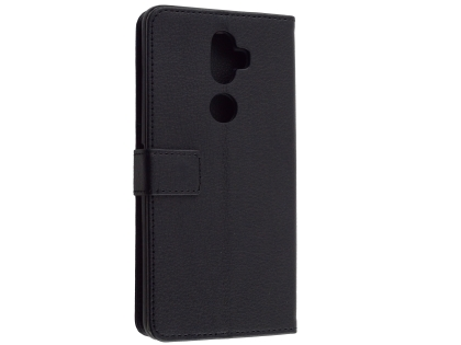 Synthetic Leather Wallet Case with Stand for Telstra Superior - Black Leather Wallet Case
