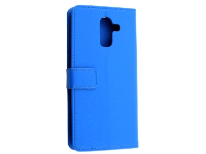 Synthetic Leather Wallet Case with Stand for Samsung Galaxy J8 - Blue Leather Wallet Case