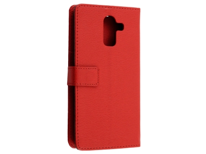 Synthetic Leather Wallet Case with Stand for Samsung Galaxy J8 - Red Leather Wallet Case