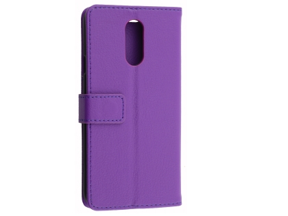 Synthetic Leather Wallet Case with Stand for LG Q7 - Purple Leather Wallet Case