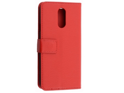 Synthetic Leather Wallet Case with Stand for LG Q7 - Red Leather Wallet Case