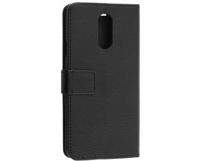 Synthetic Leather Wallet Case with Stand for LG Q7 - Black Leather Wallet Case