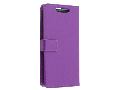 Synthetic Leather Wallet Case with Stand for OPPO Find X - Purple Leather Wallet Case