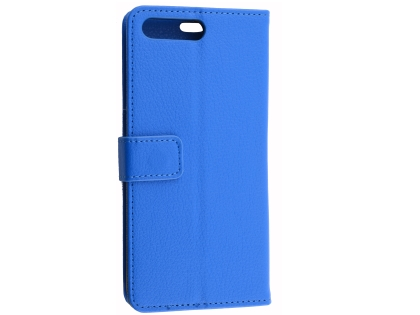 Synthetic Leather Wallet Case with Stand for Huawei Y6 (2018) - Blue Leather Wallet Case