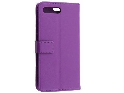 Synthetic Leather Wallet Case with Stand for Huawei Y6 (2018) - Purple Leather Wallet Case