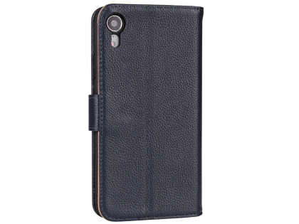 Premium Leather Wallet Case with Stand for Apple iPhone XR - Midnight Blue Leather Wallet Case