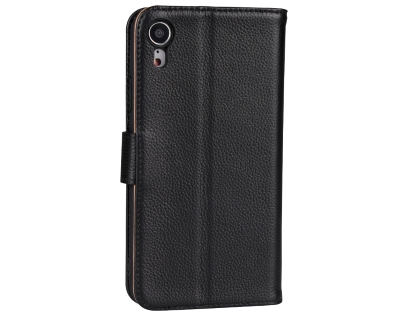 Premium Leather Wallet Case with Stand for Apple iPhone XR - Black Leather Wallet Case