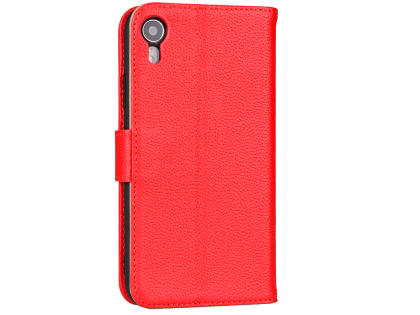 Premium Leather Wallet Case with Stand for Apple iPhone XR - Coral Leather Wallet Case