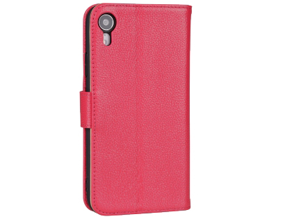 Premium Leather Wallet Case with Stand for Apple iPhone XR - Pink Leather Wallet Case