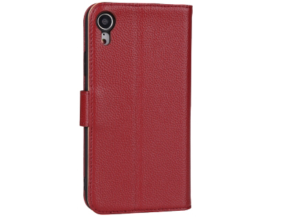 Premium Leather Wallet Case with Stand for Apple iPhone XR - Rosewood Leather Wallet Case