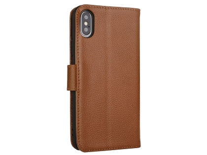 Premium Leather Wallet Case with Stand for Apple iPhone Xs Max - Brown Leather Wallet Case