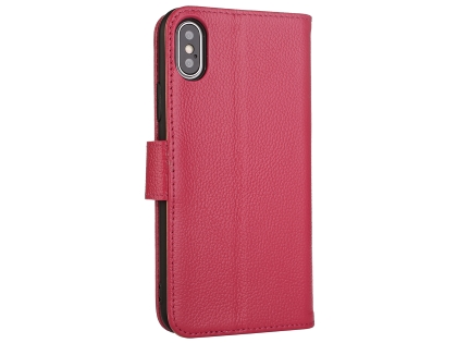 Premium Leather Wallet Case with Stand for Apple iPhone Xs Max - Pink Leather Wallet Case