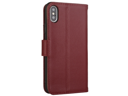 Premium Leather Wallet Case with Stand for Apple iPhone Xs Max - Rosewood Leather Wallet Case