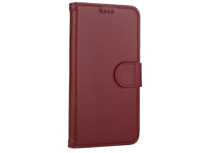 Premium Leather Wallet Case with Stand for Apple iPhone Xs Max - Rosewood