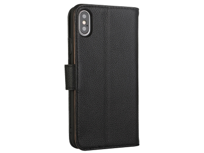 Premium Leather Wallet Case with Stand for Apple iPhone Xs Max - Black Leather Wallet Case