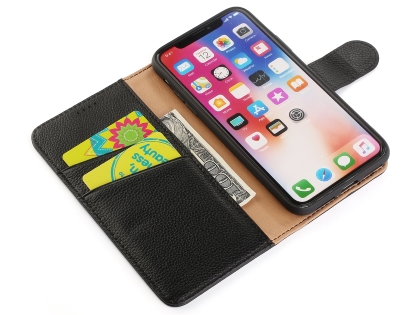 Premium Leather Wallet Case with Stand for Apple iPhone Xs Max - Brown