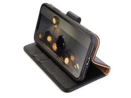 Premium Leather Wallet Case with Stand for Apple iPhone Xs Max - Black