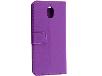 Synthetic Leather Wallet Case with Stand for Nokia 3.1 - Purple Leather Wallet Case