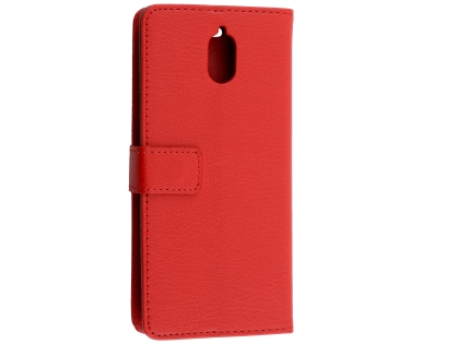 Synthetic Leather Wallet Case with Stand for Nokia 3.1 - Red Leather Wallet Case
