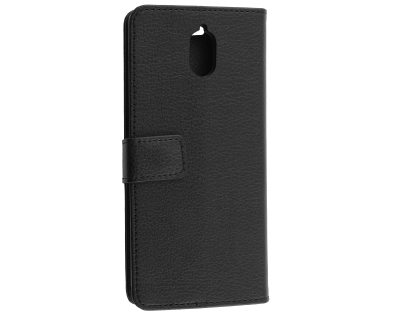 Synthetic Leather Wallet Case with Stand for Nokia 3.1 - Black Leather Wallet Case