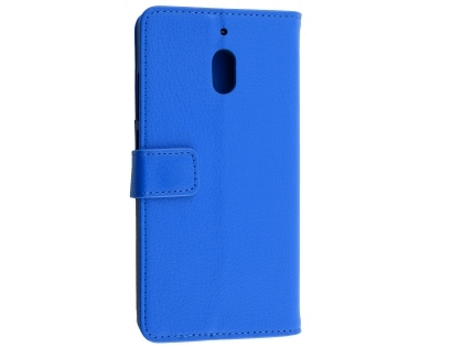 Synthetic Leather Wallet Case with Stand for Nokia 2.1 - Blue Leather Wallet Case
