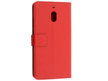 Synthetic Leather Wallet Case with Stand for Nokia 2.1 - Red Leather Wallet Case