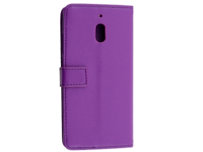 Synthetic Leather Wallet Case with Stand for Nokia 2.1 - Purple Leather Wallet Case