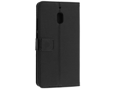 Synthetic Leather Wallet Case with Stand for Nokia 2.1 - Black Leather Wallet Case